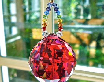 "Red Crystal Sun Catcher, 30mm Swarovski Crystal Ball, Prism, with Swarovski Crystal Chakra-Colored Strand - ""PRANA"" Available in 10 Colors"