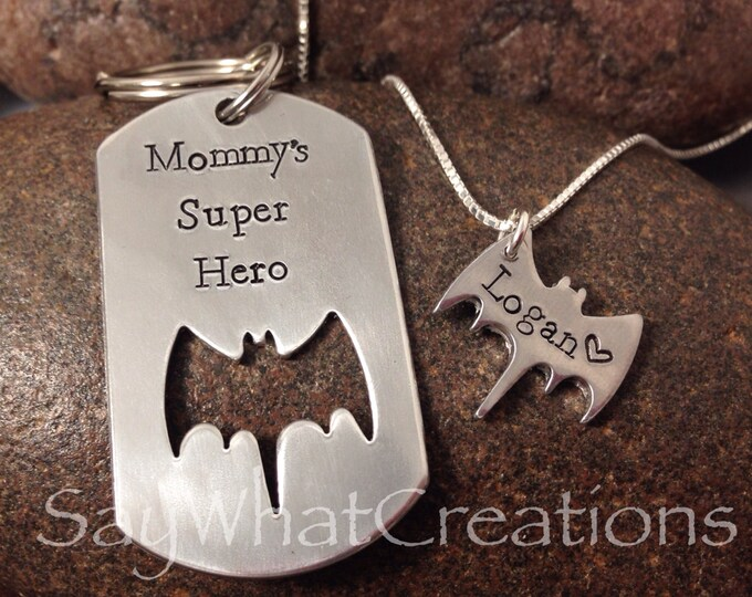 Mother/Son Batman matching set with dog tag and bat necklace