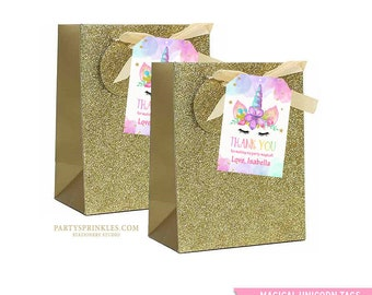 Unicorn Thank You tags, Gold Unicorn Birthday decor, Unicorn Party Favors, Unicorn Birthday Decor, Bag Labels  DIY - Instant Download!