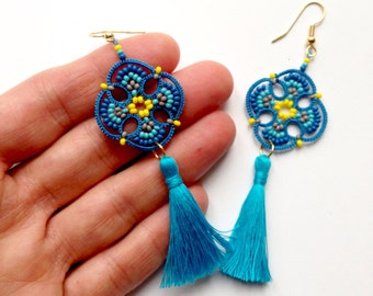 Tatted Earrings Made in Italy, Tatting Earrings, Tassel earrings, Mandala, Striped Earrings, Tatting lace, Ethnic  Jewelry, Lightweight