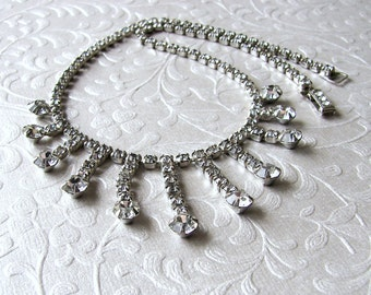 Vintage GARNE Rhinestone Necklace Waterfall Fringe Wedding Choker Bridal Bib 1950s Vintage Costume Jewelry Ballroom Pageant Accessories Prom