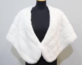 Large white bridal fur stole wrap F483