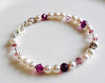 Purple and White Pearls and Crystals Bracelet