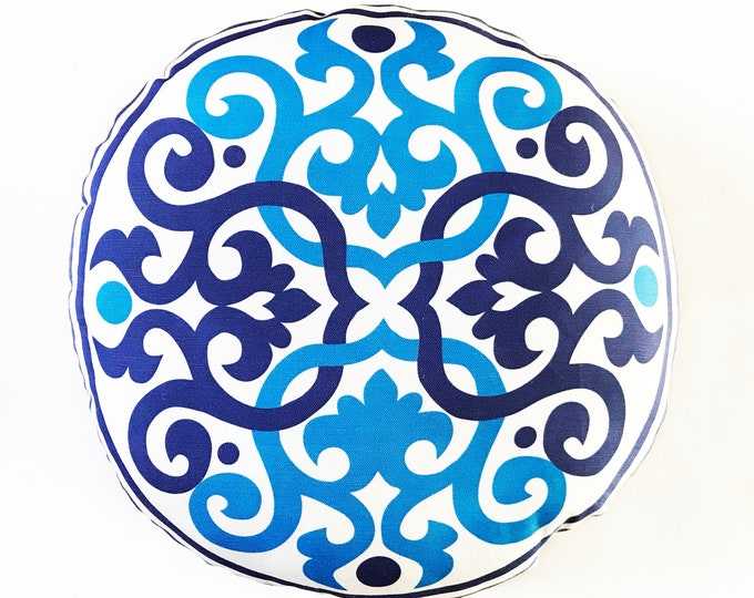 Boho Style floor pillow- Blue and White only
