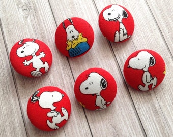 Snoopy Red Buttons, Handmade Buttons, Fabric Covered Buttons, Dog Buttons, Size 29mm, Set of 6