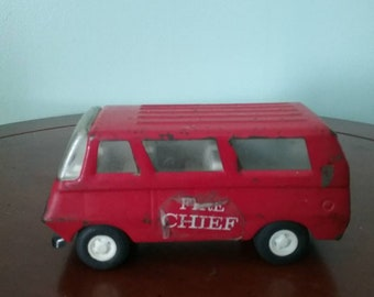 Vintage Tonka Red Fire Chief Van, 70s collectable toys, Vintage firefighter collectable toys, Tonka Toys, Vintage Tonka Toys