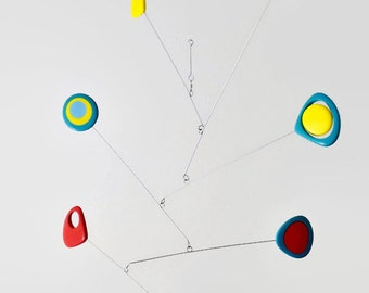 Mobile Modern Mobile Kinetic Retro Mobile Yellow Turquoise Red Blue Mobile, Calder Style, Hanging Mobile, Mid Century