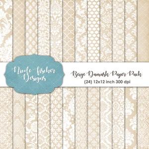 Beige Damask Paper Pack -INSTANT DOWNLOAD