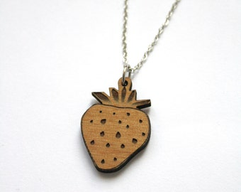 Wooden strawberry Necklace, stawberry jewel engraved, strawberry pendant in wood, natural jewelry, funny summer style, made in France Paris