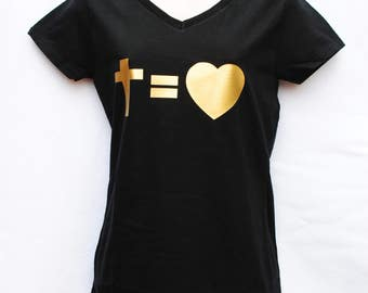 Cross Equals Love Women's V-neck Shirt Tee
