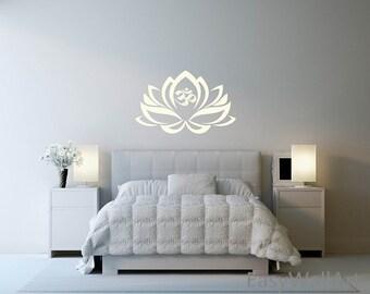 Lotus Flower Wall Decal, Lotus Flower Wall Decal for Bedroom, Office & Vinyl Lotus Flower Wall Decal Stickers #M32