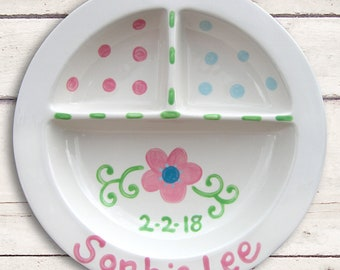 New Baby Girl Gift - Personalised Gift for New Baby Girl - Nursery Room Decor - Baby Gift Plate - New Baby Gift - Hand Painted Baby Gift