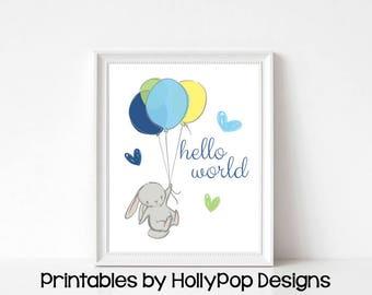 Baby boy art Printable nursery decor Downloadable nursery prints Kids room decor Bunny rabbit art Baby wall decor Instant download  #1850