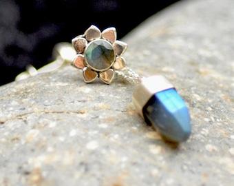 Mismatched Earrings. Pendulum Sterling Silver Stud. Hexagon Prism Post.  Flower Post. Asymmetrical  Earrings.