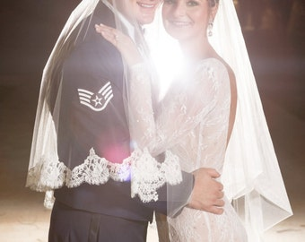 Custom Order - AUTHENTIC FRENCH CHANTILLY Lace Embellished with Swarovski Crystals, Cathedral Wedding Veil - Kristy