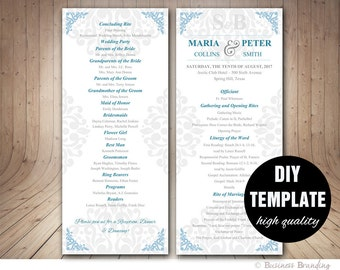 Blue Wedding Program Template Instant Download,Unique Wedding Program,Damask Wedding Program,Blue and Silver,Blue Wedding,Elegant Wedding