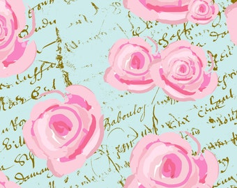 Watercolor Roses on Paris Blue French Script fabric