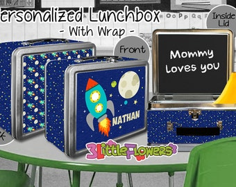 Spaceship Lunchbox - Personalized Metal Lunch Box with Chalkboard inside - Double-sided Tin Lunch Box - Name lunch box - Wrap or NO wrap
