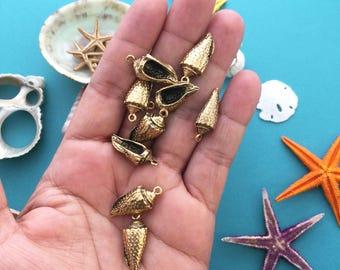 Antique Gold Conch Shell Charms, 11x24mm, 2pcs / Nunn Designs, Shell Pendants, Nautical, Beach Charms, Sea Shell, Jewelry Making Supplies