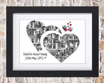 Wedding Double Heart Wall Art Digital or Fine Art Collage