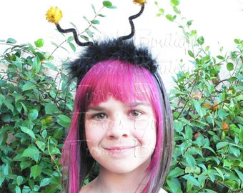 Bumble Bee Antenna Headband, Black and Yellow with Black Marabou Feathers, Halloween Costume Accessory