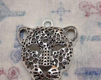 4 PCS 50mmx55mm antique silver leopard  head tiger head  Charm Pendant
