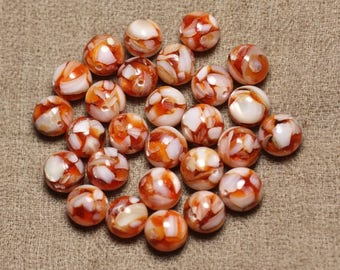 10pc - pearl beads and resin - balls 10mm Orange and white 4558550015815