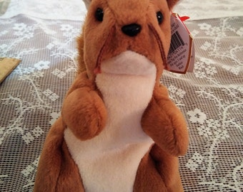Nuts the Squirrel Vintage Beanie Baby, Ty Beanie Babies, Collectible Squirrel, Plushie Toy Stuffed Animal Play Thing PVC Pellets