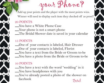 What's in your phone, Printable Bridal Shower Games, What's on your cell phone?, Bridal Printable, Bridal Shower, Instant Dowmload