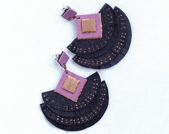 Leather Fringes Earrings, Purple Effec Leather, Copper Hand Painted, Big Earrings