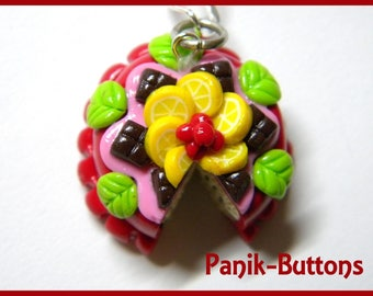 Red cake bag, handmade jewelry