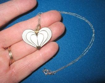 Vintage Enamel Sterling Silver White Heart Pendant Necklace Signed David Andersen Norway
