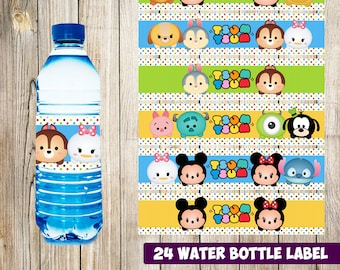 24 Tsum Tsum Water Bottle Label instant download, Printable Tsum Tsum Water Bottle Label, Tsum Tsum Water Label