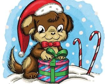 Puppy with Present (DIGI STAMP)