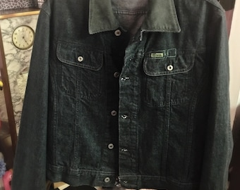 1990s Diesel denim jacket. large / like new / Cordroy collar / frayed hem cuff finish / uni sex