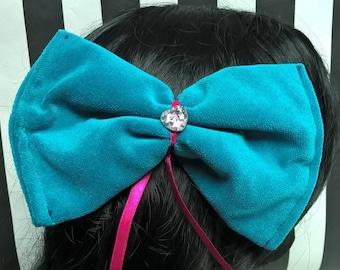 Hair bow pinup Lulupidoo turquoise rose