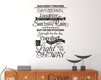 God Didn't Promise Christian Vinyl Wall Decal Religious Quote Scripture