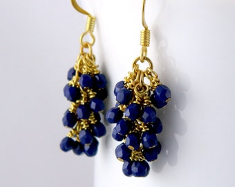 Dark Navy Blue Dangle Earrings, Gold Surgical Steel Earrings
