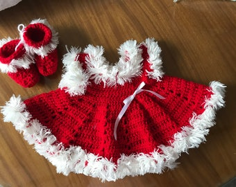 Crochet baby dress and booties -white faux fur trim baby dress - red baby dress - hand made crochet -xmas baby dress -cherry red dress