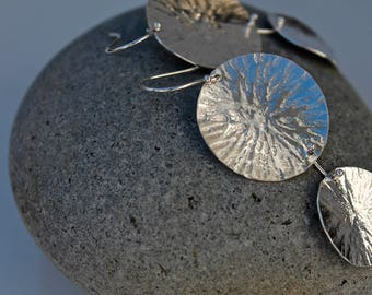 """Double Circle Earrings with amazing texture. 2"""" long lightweight"""