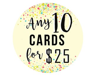Choose Any 10 Cards - Greeting Card - Birthday - Deal - Saving - Paper Goods - Greeting Card Set - Pack of Cards