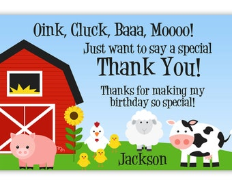 Farm Thank You Card - Barn Animals, Pig, Chicken, Sheep and Cow Personalized Birthday Party Thank You - a Digital Printable File