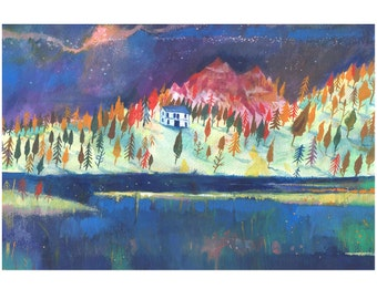 Mountain Illustrated art print, Misurina A3 Print (16.5 x 11.7 in)