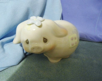 Vintage Large Enesco Precious Moments Patchwork Pig with Flower Hat Figurine in Excellent Condition