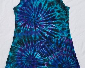 Black/Blue/Purple Psychedelic Swirls Tie Dye Tank Top Short Dress Size 2XL