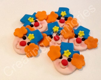12  Fondant Clown  Faces