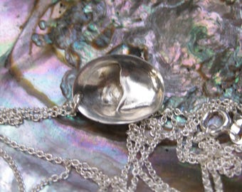 Seashell tiny SLIPPER SHELL sterling silver necklace