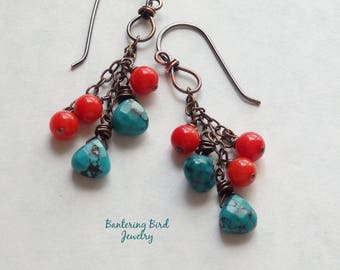 Turquoise and Coral Cluster Earrings, Southwestern Rustic Copper Jewelry