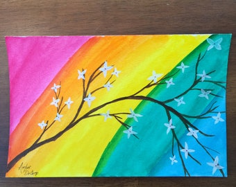 Rainbow Blossoms Watercolor Painting