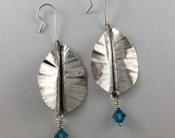 Leaf Earrings, Blue Zircon Swarovski